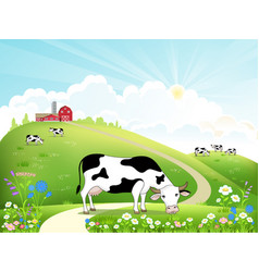 Dairy farm and a herd of cows on a beautiful vector