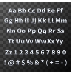Glossy metal font Chromium letters and numbers on vector image