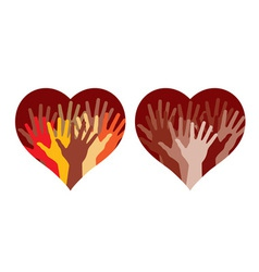 hearts with many helping hands vector image vector image