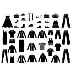 monochrome of clothes for male and vector image