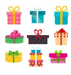 set of different gift boxes Flat birthday vector image vector image