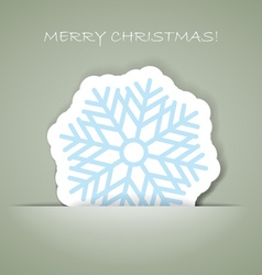 snowflakeChristmas greeting card with paper flake vector image vector image