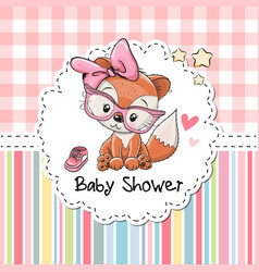 baby shower greeting card with fox vector image