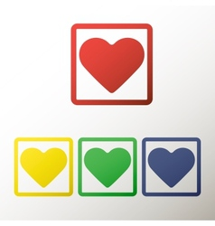 Collection of buttons with the heart vector image vector image