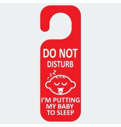 hotel tag do not disturb with baby sleep vector image