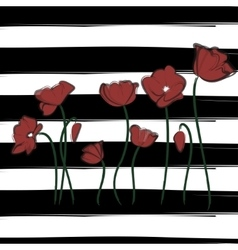 red poppy watercolor drawn flowers Print vector image
