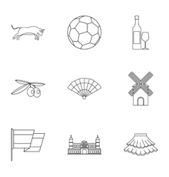 Tourism in Spain icons set outline style vector image vector image