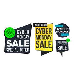 cyber monday sale banner set discount tag vector image