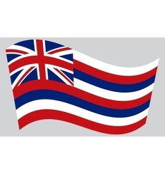 Flag of Hawaii waving on gray background vector image vector image