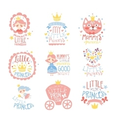 Little Princess Set Of Prints For Infant Girls vector image