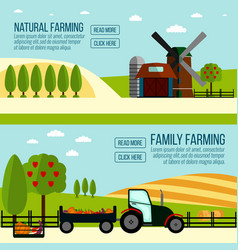 natural and famaly farming banner vector image vector image