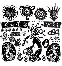 primitive art silhouettes vector image vector image