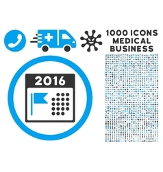 2016 Holiday Calendar Icon with 1000 Medical vector image