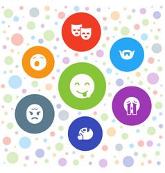 7 facial icons vector