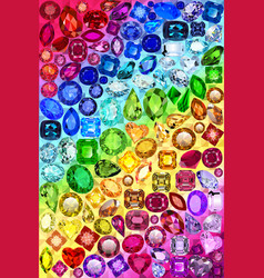 A rainbow background with precious stones in vector