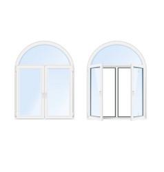 Arch windows realistic icon set vector