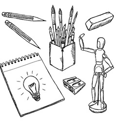 Art equipment doodles vector image