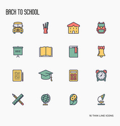 Back to school thin line icons set vector