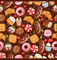 bakery seamless pattern with funny cartoon vector image