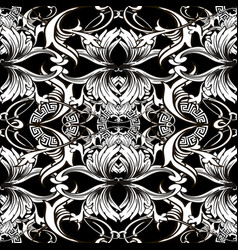 baroque seamless pattern black and white vector image