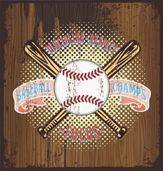 Baseball champ wooden background vector
