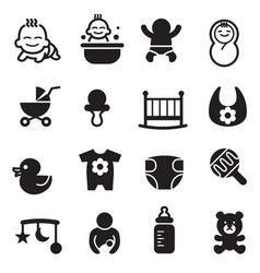 Basic baby icons vector