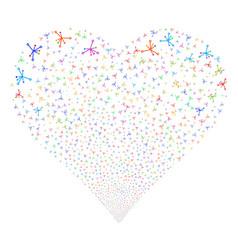 Big bang fireworks heart vector