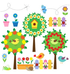 Birds flowers and insects vector
