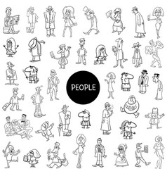 black and white people characters large set vector image