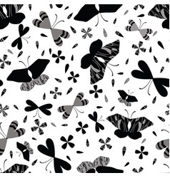 Black on white butterflies line art seamless vector