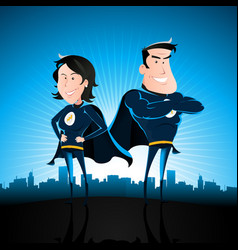 blue superhero man and woman vector image