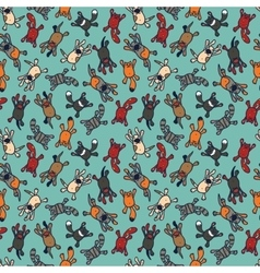 bright seamless pattern with cute cartoon pets vector image