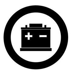 Car battery icon black color in circle vector