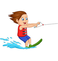 cartoon boy playing water ski vector image