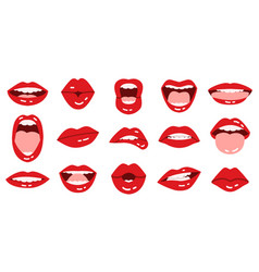 cartoon lips girls red lips beautiful smiling vector image