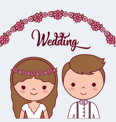 Cartoon wedding couple icon vector