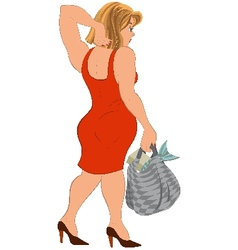 Cartoon woman in red dress and bag with fish back vector image