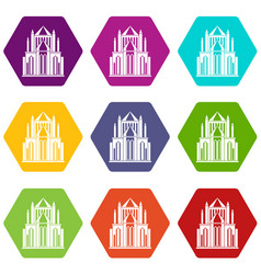 cathedral icons set 9 vector image
