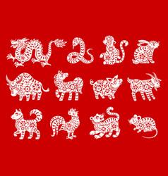 chinese horoscope symbols zodiac animals vector image