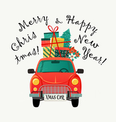 Christmas card red retro car with a fir tree and vector
