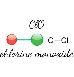 ClO chlorine monoxide molecule vector image