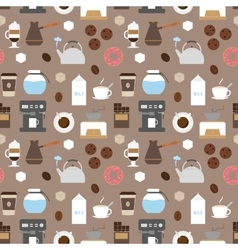 Coffee flat icons seamless pattern vector