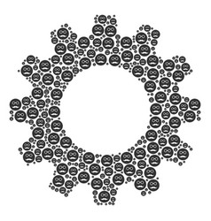 Cogwheel collage of pension smiley icons vector