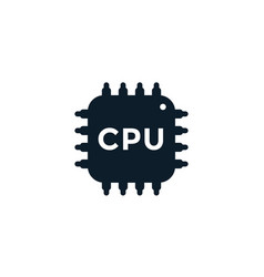 cpu icon electronic circuit processor chipset vector image