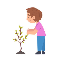 cute boy planting tree child working in garden or vector image
