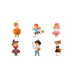 cute boys and girls in halloween costumes vector image