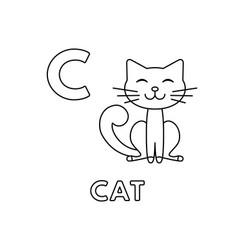 cute cartoon animals alphabet cat coloring vector image
