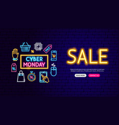 cyber monday sale neon banner design vector image