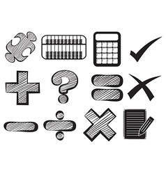 Doodle design of the different math operations vector image