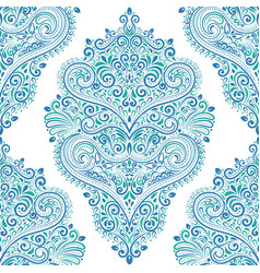 Eastern blue and green vintage seamless pattern vector